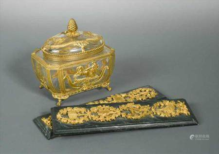 An early 20th century glass and gilt metal mounted casket an
