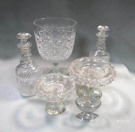 Two cut glass decanters,
