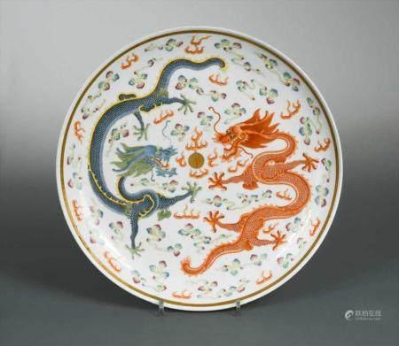 A Chinese porcelain dragon dish, Guanxu Emperor (1875-1908),