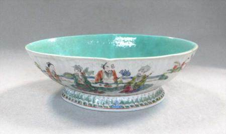 A Chinese porcelain shaped oval fluted bowl, 20th century,