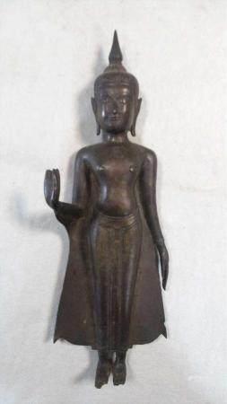 A Thai bronze standing Buddha, 19th century,
