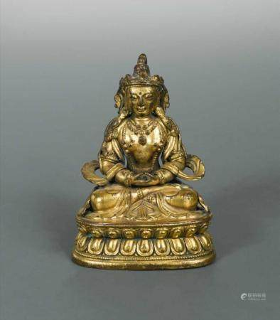 A Chinese gilt bronze Amityus, Kangxi Period early 18th cent