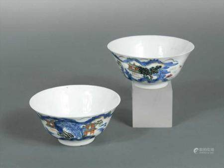 A pair of Chinese porcelain blue and white bowls, Qing Dynas