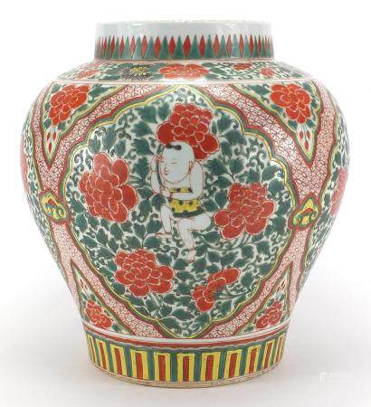 Large Chinese porcelain baluster jar, hand painted in the famille verte palette with panels of