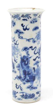 Chinese blue and white porcelain vase, hand painted with foo dogs amongst clouds chasing flaming