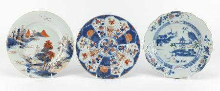 Three Chinese porcelain plates including two hand painted with river landscapes, the largest 23cm in