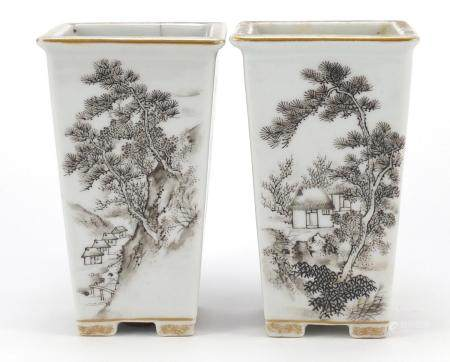 Pair of Chinese porcelain planters, hand painted with landscapes and precious objects, each with