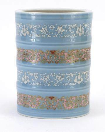 Chinese porcelain brush pot finely enamelled with bands of flower heads and foliage, six figure