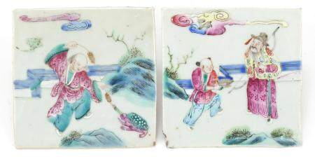 Pair of Chinese porcelain tiles, each hand painted in the famille Rose palette with figures in a