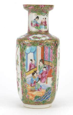 Chinese Canton porcelain vase, hand painted in the famille rose palette with figures and birds of