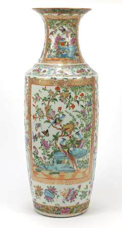 Large Chinese Canton porcelain vase, finely hand painted in a famille rose palette with birds of