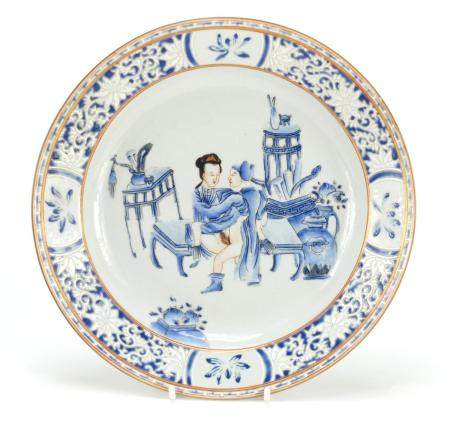 Chinese porcelain plate, hand painted with an erotic scene, 22.5cm in diameter :For Further