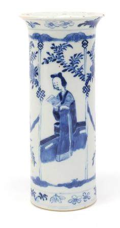 Chinese blue and white porcelain vase hand painted with panels of figures and birds of Paradise,