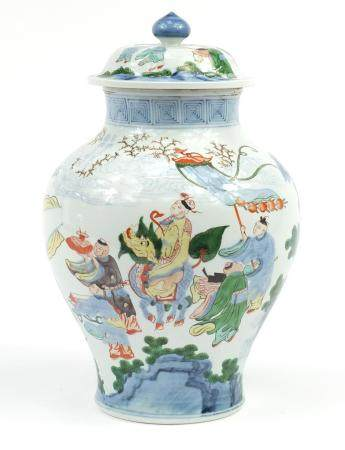 Chinese porcelain baluster vase and cover, hand painted in the Wucai palette with a procession,