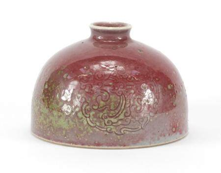 Chinese porcelain peach bloom glazed Taibai Zun water pot of beehive form, incised under glaze