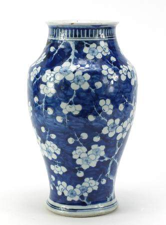 Chinese blue and white porcelain vase, hand painted with prunus flowers, 33.5cm high :For Further