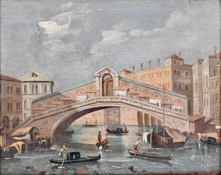 Anonyme  - Le pont du RialtoHuile sur toile18 x 22 cm  -   - The RialtoBridge Oil on [...]