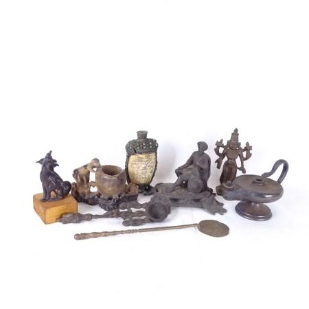 Goldsmiths & Silversmiths silver plated Aladdin's lamp oil burner, soapstone carving, cast-brass