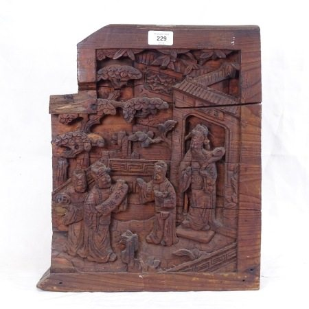 An Antique Chinese relief carved and stained wood Suzou temple, height 42cm