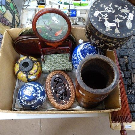 Various Oriental collectables, including large bamboo brush pot, blue and white ginger jar, mother-
