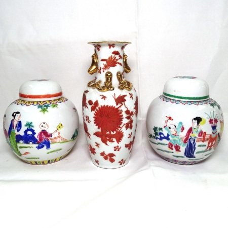 2 Chinese ginger jars with enamelled decoration, and a vase, 20.5cm