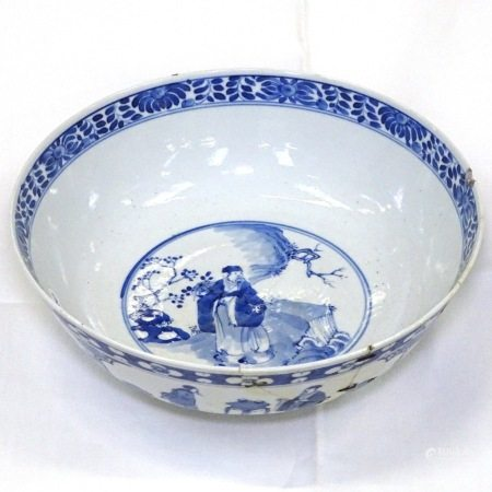 Chinese blue and white bowl on foot with 4 character mark, 25cm diameter