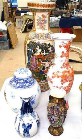 A group of Oriental jars and vases, tallest 60cm