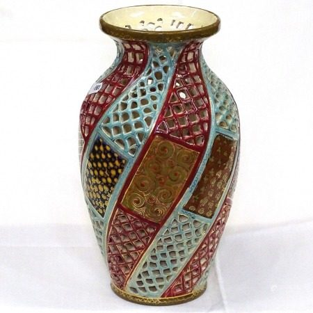 A reticulated vase by Fischer of Budapest, height 29cm