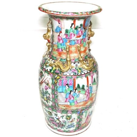 A Chinese porcelain vase with enamelled and gilded panels, 45.5cm