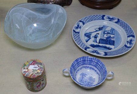 A Chinese blue and white plate with 6 character mark, 22.5cm, a Canton pot, and an English bowl
