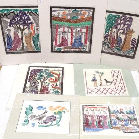 7 Chinese polychrome mounted stone rubbings, largest 38cm x 32cm