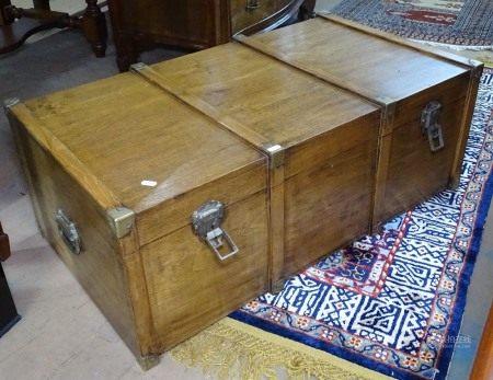 A brass-bound hardwood Chinese design blanket chest, W92cm, H34cm