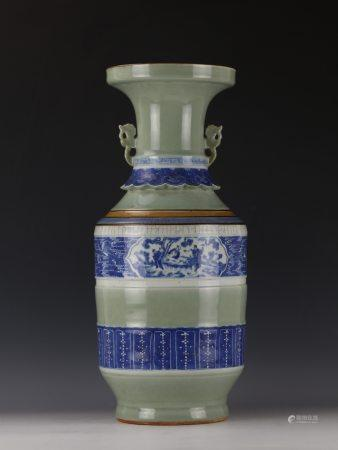 A Chinese Blue and White Celadon BaXian Vase with Handles