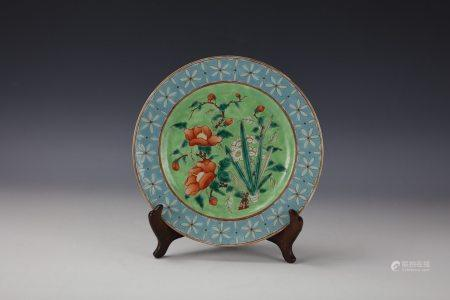 A Qing Dynasty Famille Rose Porcelain Plate with Ji Xiang Ru Yi Mark