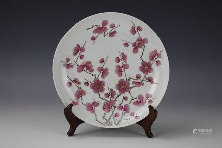 A Red Plums Flower Famille Rose Porcelain Plate