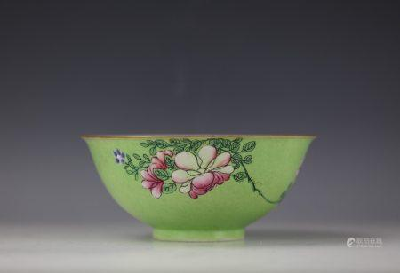 A Green Gounded Flower Porcelain Bowl with QianLong Mark