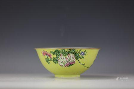 A Yellow Gounded Flower Porcelain Bowl with QianLong Mark