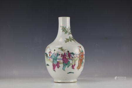 A Chinese Famille Rose Figural Storied Porcelain Vase