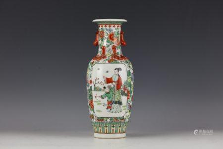A Famille Verte Fugural Vase with Kangxi Mark