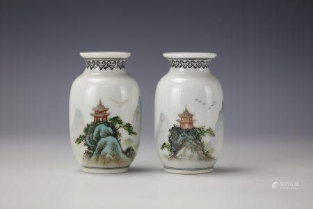 A Pair of Chinese Landscape and Poetic Porcelain Vase