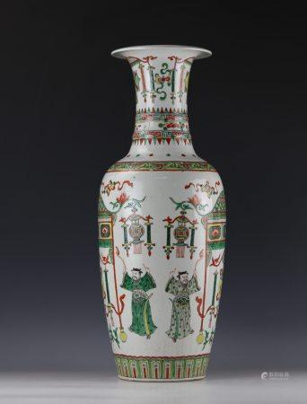 A Wucai Figure-storied Big Porcelain Guanxin Vase with KangXi Mark