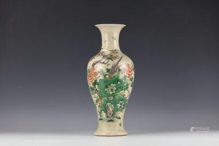 A Famille Verte Flural and Bird Guanyin Vase