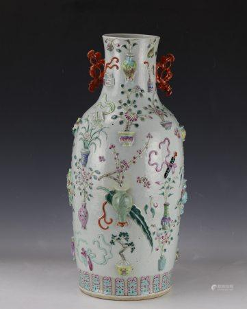 A Large Famille Rose Porcelain Carving Bogu Vase