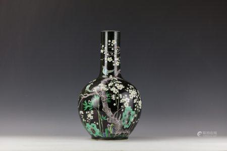 A Chinese Black Grounded Plum Blossom Porcelain Vase with Kangxi Mark