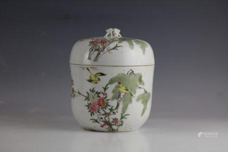 A Famille Rose Flower and Birds Porcelain Jar with Lip