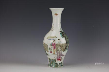A Chinese Famille Rose Figures-storied Porcelain Vase Qianlong Mark