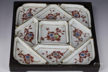 A Chinese Famille Rose Sweetment Set in Hard Wood Box