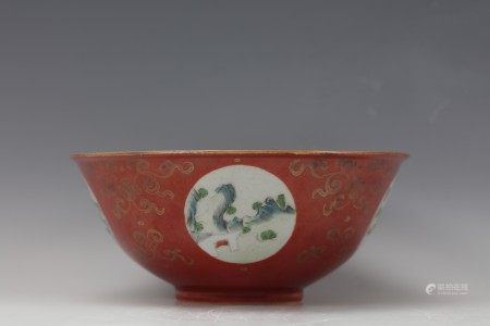 A Coral Red Glaze and Opening Famille Rose Landscape and Gild Flower Porcelain Bowl with Mark