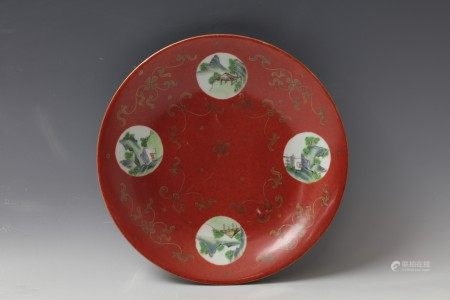 A Coral Red Glaze and Opening Famille Rose Landscape and Gild Flower Porcelain Plate with Qianlong Mark