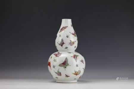 A Chinese Famille Rose Butterfly Double-Gourd Vase